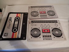 Cassette Boombox placemats Vintage look Throwback Nice WInk Brand Lot of 12
