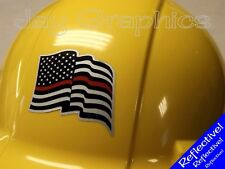 REFLECTIVE Firefighter American Flag Hard Hat Sticker Flags Decal Helmet USA Red