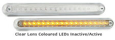 TRAILER CHROME SURFACE STRIP LAMP CLEAR LENS  X 2 AMBER 12 V 380 S LED AUTOLAMPS