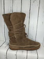 CAMPER Brown Suede Lace Up Mid Calf Moccasin Boots Women US 10 EU 40
