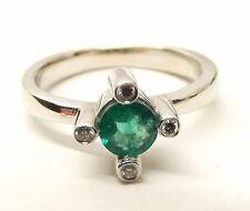 Vtg 18K White Gold Natural Emerald Diamond Ring Sz 5.75 Signed BITA Square Cross