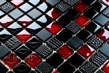 Mosaik Fliesen Glasmosaik intensiv ROT SCHWARZ  glaenzend + matt STRUKTUR 8mm
