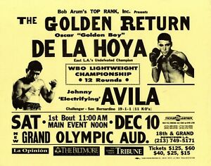Oscar De La Hoya Vs Johnny Avila 12/10/1994 Olympic Aud Original Billboard Flyer