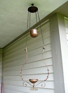 Antique Vintage Copper Ceiling Light Fixture Chandelier w/ Counter Weight
