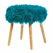 Zings & Thingz Turquoise Faux Fur Foot Stool
