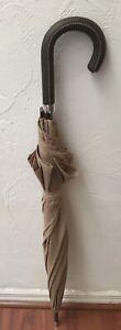 Ralph Lauren Vintage Plaid Doorman's Umbrella W/ Leather Hook Handle