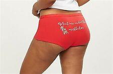 Lane Bryant Cacique Cotton Boyshort Panties Underwear Christmas Mistletoe 18 20