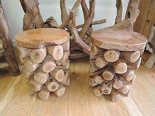 SOLID TEAK ROOT,  STOOLS FOR INDOOR AND OUTDOOR  STURDY SEAT 37CM DIAMETER AT251