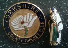 Yorkshire County Cricket Club plus small vintage cricketer badges both by Reeves