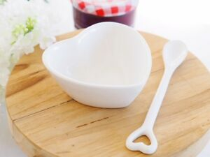 White Porcelain Condiments Heart Dish & Spoon Hamptons Coastal Farmhouse Table