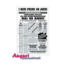 Biglietto auguri giornale compleanno 40 anni amica quotidiano regalo umoristico