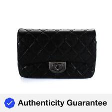 Chanel Mujer Cuero Aleta de Bloqueo de Giro cuerpo transversal Bolso Negro Mediano