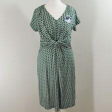 Jojo Maman Bebe Maternity & Nursing Spot Twist Dress Size S 8 10 Green Jersey