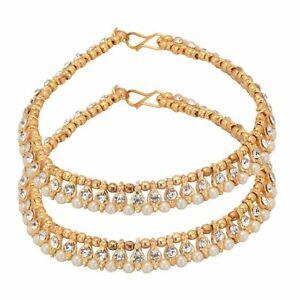 Indian Anklet Gold Plated CZ Stone Bollywood Bracelete Payal Women Jewelry
