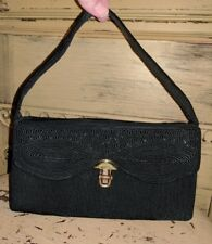 VINTAGE 30'S GENUINE CORDE CREATION HANDBAG BLACK RIBBON CORD SATCHEL EVENING BA