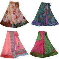 Indian Vintage Silk Skirt Women Wrap Bohemian Gypsy Hippie Boho Summer Dress