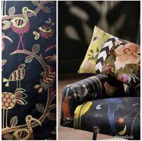 SWATCH Designer Brocade Upholstery Jacquard Bird And Leaves Motif Fabric- Black