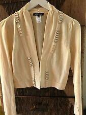 Nanette Lepore Crop Cream Silver Chain Link Cardigan Sweater SZS