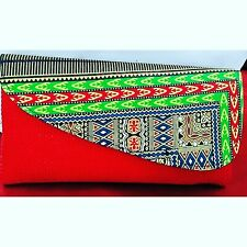 Handmade Authentic Africa Kenya Maasai foldover red green multicolor Clutch Bag