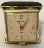 Phinney-Walker Travel Alarm Clock Black Leather Case Japan