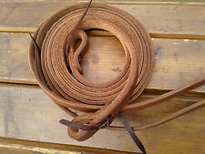 """5/8"""" x 8' OILED HARNESS LEATHER Split Reins - Made in Texas"""