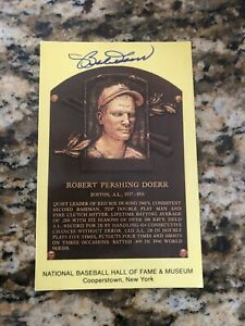 Bobby Doerr Boston Red Sox signed autographed baseball card HOF plaque postcard