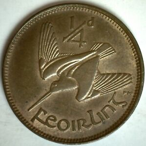 1928 Ireland Bronze Farthing Coin Almost Uncirculated Irish Harp Woodcock Coin