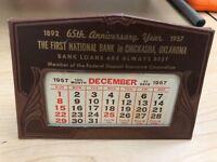 First National Bank in Chickasha, Oklahoma Vintage Desk Calendar from 1957