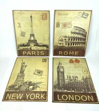 Set of 4 Postcard Style Metal Wall Art 10 x 13 Rome New York Paris London Stamp
