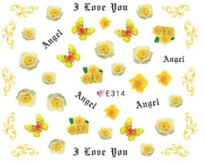 Nail Art Sticker Water Decals Transfers Love You Angel (E314)