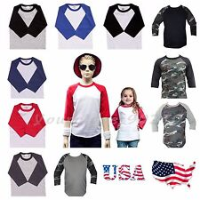 Kids T-Shirt Raglan Baseball Jersey Casual Plain Toddler Boys Girl Unisex Tee