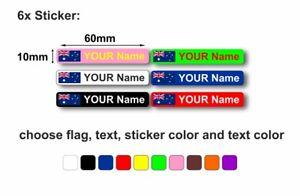 6x sticker personalised bike frame helmet car cycle bike decals name flag