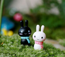 2pcs Miniature Micro Figurine Rabbit Garden Fairy Ornament Craft DIY Decor