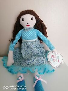 EVIE Rag Doll 28 inch High Blue Polka Dot Ditsy Outfit Vintage Country