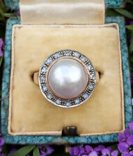 Vintage Inspired 9ct Rose Gold Diamond & Pearl Statement Cocktail Ring