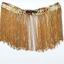 Ranjana Khan Vintage Leopard Silk Ribbon Goldtone Chain Necklace HSN