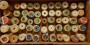 Vintage Lot of 55 Wooden Thread Spools Coats & Clarks Super Sheen + Other Empty