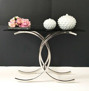 Corry Mirror Pollished Stainless Steel Console W/ Clear Or  Black Tempered Glass