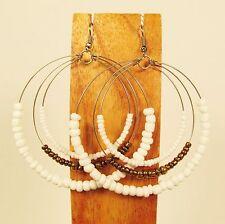 "2 1/2"" White Gold Bohemian Triple Hoop Handmade Seed Bead Earring FREE SHIPPING!"