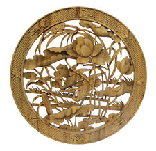 Chinese Round Flower Birds Wooden Wall Plaque Panel cs3354