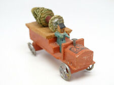 Vintage German Erzgebirge Toy Truck Wagon with Driver, Christmas Tree, Antique