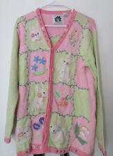 Storybook Knits Small Easter Sweater Cardigan Bunny Rabbit Spring Country Cute