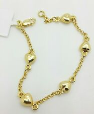 "14k Yellow Gold Heart Rolo Link Chain Bracelet 6"" Child Baby"