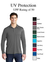 Sport Tek ST520LS Moisture Wicking UV Protection Long Sleeve Polo UPF 50