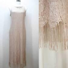 VTG 80's gold crochet knit cream tan beige flapper fringe gypsy prom dress L