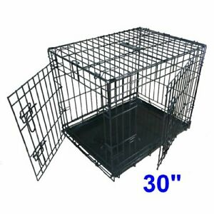 Dog Puppy Cage Medium 30 inch Black Folding 2 Door Cage with Non-Chew Bar