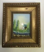 Vintage Enamel on Copper Painting Artist Signed
