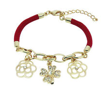Lucky Four Leaf Clover and Flower Gold Plated Red Bracelet