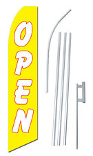 Open Banner Flag Sign Display Kit Swooper Bow Feather Tall 2.5' wide Yellow