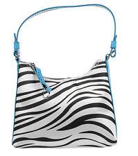 Girls Stylish Designer Zebra Handbag With Blue Strap Zip Travel Make Up Bag Tote